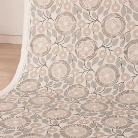 PomPom - Sand - Several grey-beige shades making up simple leaves and stylised, circular flowers on white cotton and linen blend fabric