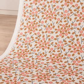 Bud - Coral - Cotton and linen blend fabric featuring simple leaves and small, circular stylised flowers in white, rust and blush pink