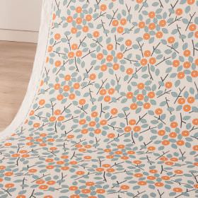 Bud - Firecracker - Linen and cotton blend fabric in white, printed with simple light blue leaves and stylised, circular, coral coloured flowers