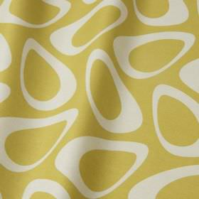 Plectrum - Apple - Retro style egg shapes printed in white on light gold coloured cotton and linen blend fabric