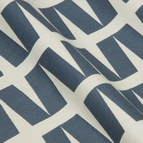 Zip - Nightshade - White cotton and linen blend fabric printed with a simple geometric design of slanting rectangles in navy blue