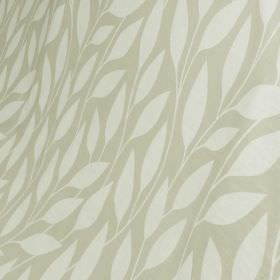Billow - Feather Grey - Simple white leaves patterning a light silver-grey coloured cotton and linen blend fabric background