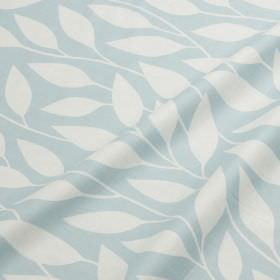 Billow - Misty Blue - Baby blue cotton and linen blend fabric, featuring a simple, elegant pattern of white leaves