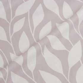 Billow - Sea Fog - Simple leaf print patterned cotton and linen blend fabric, featuring a white design on a pale lavender background