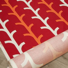 Beanstalk - Chilli Pepper - Cotton and linen blend fabric in burgundy, patterned with simple, stylised branch style designs in white & brigh
