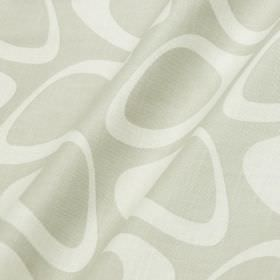 Plectrum - Feather Grey - Silver-grey and white cotton and linen blend fabric featuring a retro style pattern of hollow egg shapes