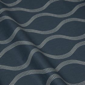 Drift - Nightshade - A navy blue and white design of wavy lines made up of tiny dots on cotton and linen blend fabric