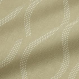 Drift - Sand - Cotton and linen blend fabric in creamy beige, featuring a white design of tiny dots making up elegant wavy lines
