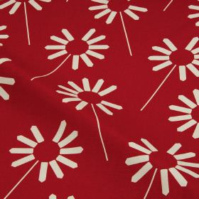 Always - Chilli Pepper - Simple, stylised white flowers printed on a luxurious, rich scarlet coloured cotton and linen blend fabric backgrou