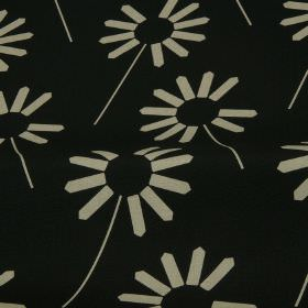 Always - Jet - Black cotton and linen blend fabric, printed with a very simple, stylised, contemporary floral pattern in white