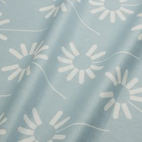 Always - Misty Blue - Fabric made from pale blue and white cotton and linen, featuring a contemporary stylised design of simple florals