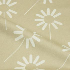 Always - Sand - Floral patterned cotton and linen blend fabric, featuring a contemporary stylised design in white on a beige background