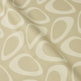 Plectrum - Sand - Hollow off-white egg shapes printed in a retro style pattern on light beige coloured cotton and linen blend fabric