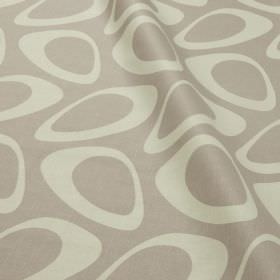 Plectrum - Sea Fog - Cotton and linen blend fabric in light grey, printed with white hollow egg shapes in a fun, retro style design