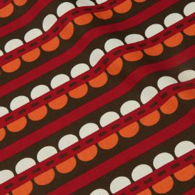 Blossom - Chilli Pepper - White and paprika coloured semi-circles with black dashes & burgundy & dark brown stripes on cotton & linen blend