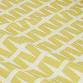 Zip - Apple - Rows of slanting rectangles in a simple geometric light gold design on a white cotton and linen blend fabric background