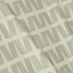 Zip - Feather Grey - Light grey and white cotton and linen blend fabric printed with a simple geometric design of rows of slanting rectangle