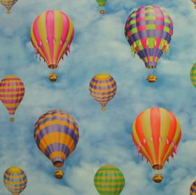 Hot Air Baloons - Blue Cloud Sky - Bright multicoloured hot air balloons against a background of 100% cotton fabric with a blue and white cl