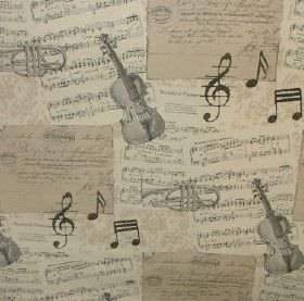 Classical - Musical Notes - Grey violins and trumpets with charcoal musical notes on a beige background of musical scores made from cotton and p