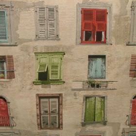 French - Window Shutters - Windows and shutters in light green, blue, brown, grey and red on a beige cotton and polyester blend fabric backg