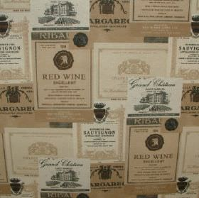 French - Wine Chateau - Cotton and polyester blend fabric covered with overlapping wine label designs in white, light biscuit and grey colou
