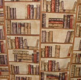 Vintage - Library Books - Cotton and polyester blend fabric in cream, behind a light brown, grey and red design of bookshelves and stacks of