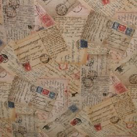 Vintage - Postcards - Postcards in pale pink, grey and beige with red and blue stamps overlapping on fabric containing cotton and polyester