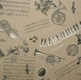 Classical - Concerto Music - Musical themed cotton and polyester blend fabric in shades of grey and beige, with musical scores,instruments
