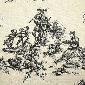 French Toile De Jouy - Prestigious Black - A historical outdoor scene of people, children playing, animals and flowers in dark grey over ivo