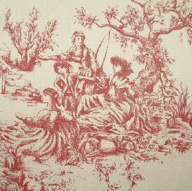 French Toile De Jouy - Vintage Red French - Fabric made from dusky red and cream coloured 100% cotton designed with a scene of ladies sittin