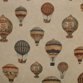 Vintage Designer Linen look - Montgolfier Hot Air Baloon - Decorated vintage style hot air balloons in dusky shades of brown, red and blue a