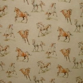 Horses - Vintage Linen - Vintage design depicting horses on cotton and polyester fabric