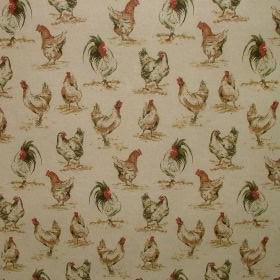 Chicken Hens - Vintage Linen - Vintage cotton and polyester fabric decorated with hens