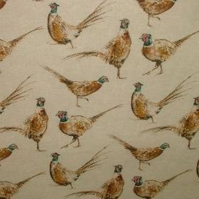 Pheasants - Vintage Linen - Interesting design depicting pheasants on cotton and polyester fabric