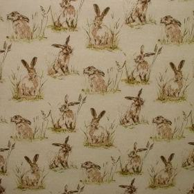 Hares - Vintage Linen - Cotton and polyester fabric decorated with hare pattern