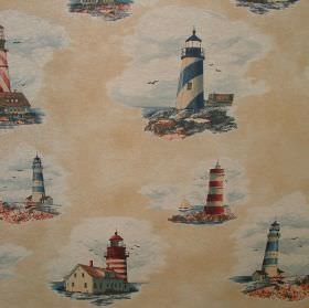 Vintage Designer Linen look - Newport Lighthouse - Limestone coloured 100% cotton fabric featuring lighthouse scenes in white, grey, red, bl