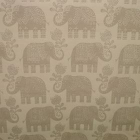 Elephant - Natural Linen - Cotton fabric decorated with beautiful elephant pattern