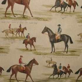 Vintage Derby & Ascot Horse Racing - Linen - Vintage design featuring racing horses on cotton fabric