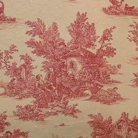 Rustic French Toile De Jouy - Red - A man, woman and girl from centuries ago drawn with flowers in dusky red over 100% cotton fabric in a gold