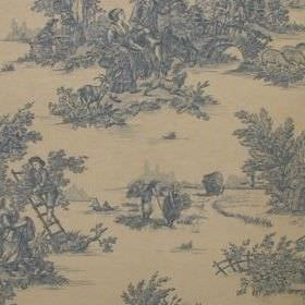 Rustic French Toile De Jouy - Blue - Outdoor scenes of dusky blue coloured peasants climbing ladders and collecting fruit on pale citrus colou