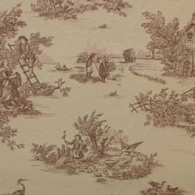 Rustic French Toile De Jouy - Brown - Brown and pale yellow coloured 100% cotton fabric with a design of drawings of peasant-like people out