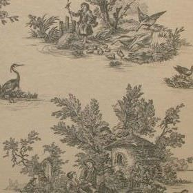 Rustic French Toile De Jouy - Charcoal Grey - Light grey animals and peasant-like people on a pale yellow coloured fabric background made fr