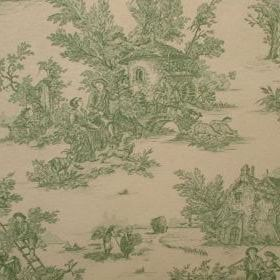 Rustic French Toile De Jouy - Prestigious Green - Green and off-white coloured 100% cotton fabric featuring drawn designs of flowers and peo