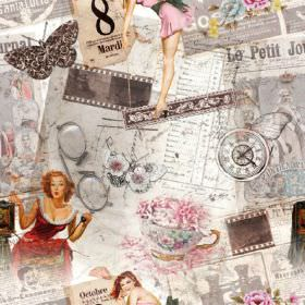 French Huit Pin Up Girl - Photo Digital - 100% cotton fabric with a Parisian chic feel with pin-up girls, tea sets, grey and white papers, c