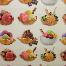 Ice Cream Sunday - Photo Digital - Photographs of ice cream, bowls, wafers and chocolate arranged in rows on a white 100% cotton fabric back