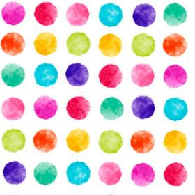 Pop Art Multi Spot Colour - Photo Digital - Bright white cotton fabric covered with rows of bright dots in a variety of colours such as pink