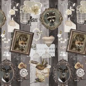Animals In Antique Frame - Photo Digital - Grey striped 100% cotton fabric featuring foxes, stag heads, lace, cages, birds and other items i