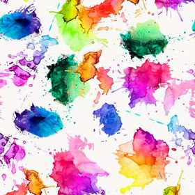 Artist Watercolour Splash - Photo Digital - Very bright, multicoloured paint splashes blending into one another on a white 100% cotton fabri