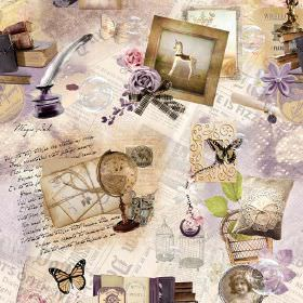 Victorian Nostalgia Antique Photo - Photo Digital - Whimsical lilac, cream and white 100% cotton fabric featuring frames, globes, quills, bu