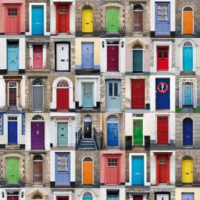 Front Doors - Photo Digital - Rows of photographs of bright front doors in a variety of colours printed repeatedly on fabric made entirely f